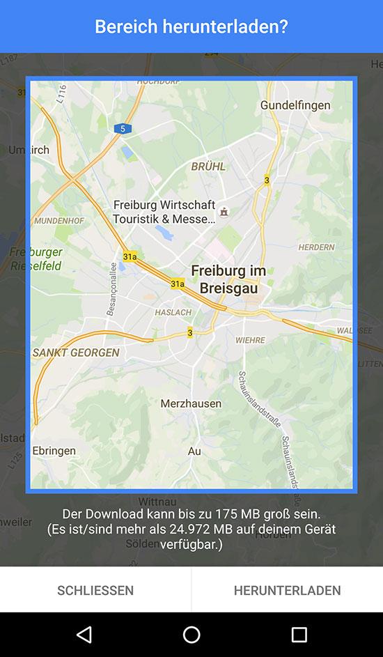 Google Maps im Offline Modus